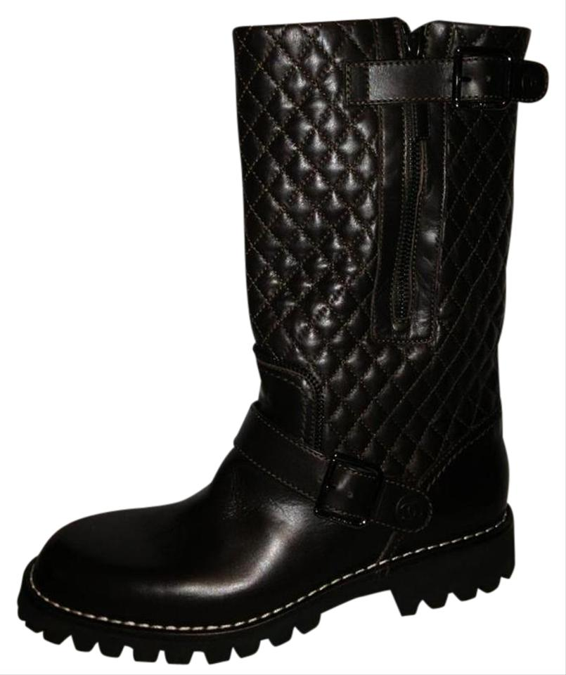 Chanel Brown Quilted Leather Motorcycle Biker Zipper Buckled Boots ... : quilted biker boots - Adamdwight.com