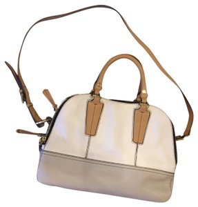 orYANY Crossbody Color-blocking Leather Anthropologie Satchel in White, Grey, Tan