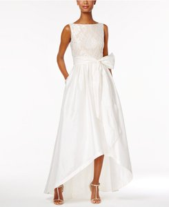 Adrianna Papell Embroidered Taffeta High-low Gown Wedding Dress