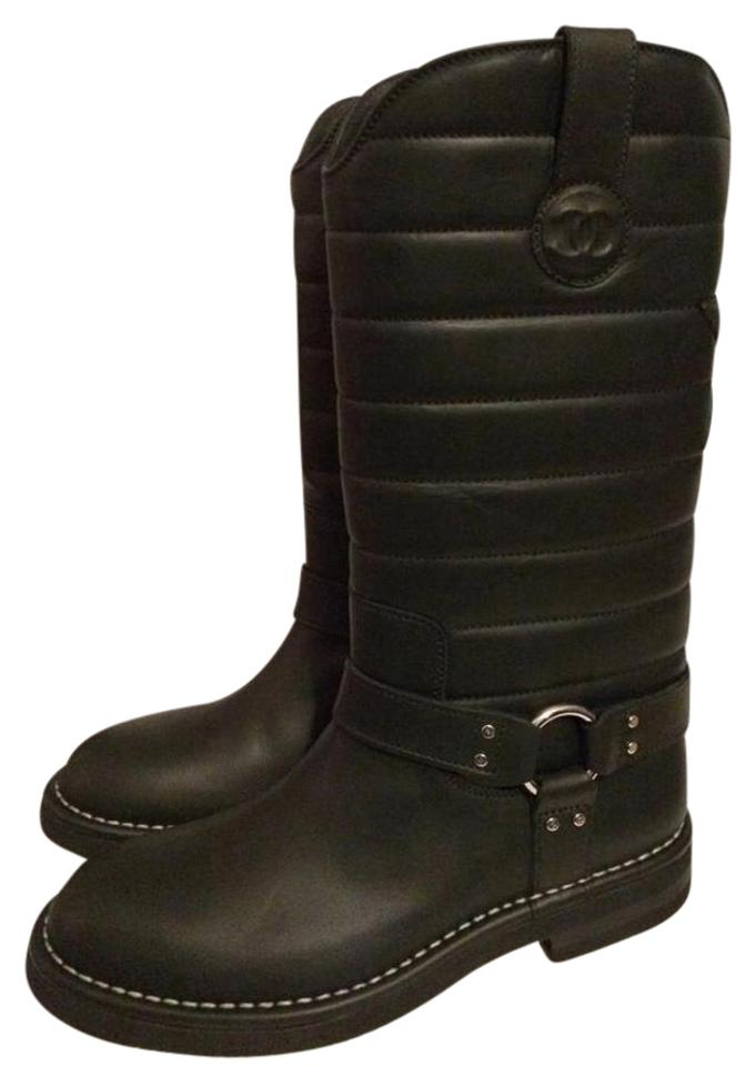 6e47757cf39 Chanel Black 14a Quilted Leather Star Harness Motorcycle Biker Boots ...
