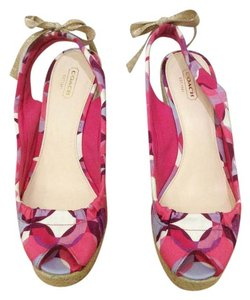 Coach Espadrille Wedge Peep Toe Strappy Multi Sandals