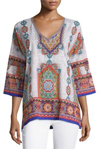 Johnny Was Cotton 3/4 Sleeves Arched Hem Print Tunic