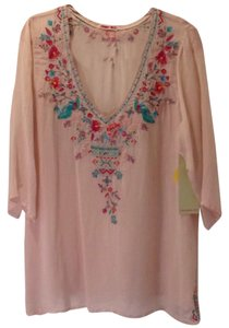 Johnny Was Rayon Embroidered 3/4 Sleeves V-neck Tunic
