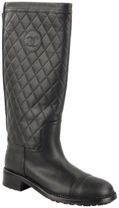 Chanel Cc Quilted Biker Motorcycle Black Boots