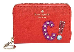 Kate Spade Hartley Lane Cassidy Letter Key Chain Wallet Safiano Leather Wristlet in Apple Jelly Red