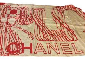 Chanel Red and white scarf
