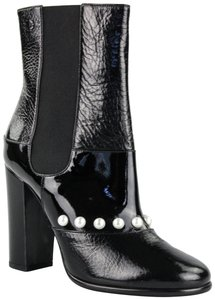 Chanel Patent Leather Pearl Black Boots