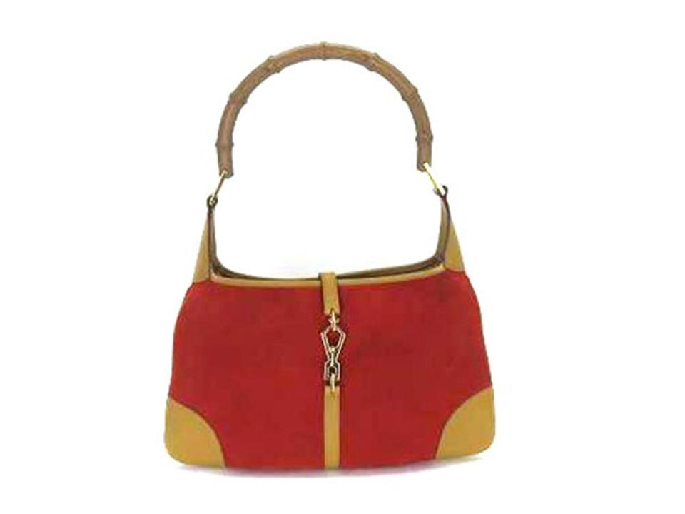 Gucci Jackie Bamboo Jackie-o Hobo Red Suede Leather Shoulder Bag ... 8abbd2f95e3ee