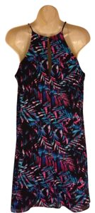 Decree short dress Black, Turquoise, Pink & White Nwt Juniors Medium 100% Polyester Halter Swing on Tradesy