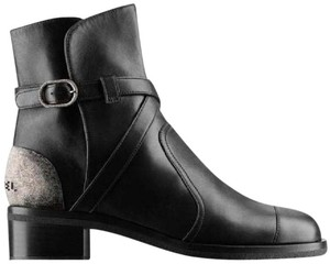 Chanel Cc Buckled Metal Cross Strap Black Boots