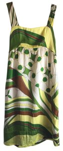 Massimo Dutti short dress Green multi Silk Pockets Thick Straps Button Detail High-waisted on Tradesy