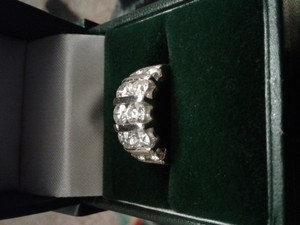 Ladies Platinum And Diamond Channel Set Double Row Anniversary Ring.