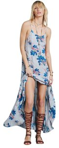 Dusty Blue Maxi Dress by Free People Boho Maxi Floral Deep V