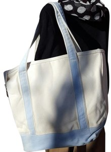Lands' End Canvas Tote in White light blue trim