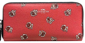 Coach NWT COACH Red Rose floral zip Long Wallet