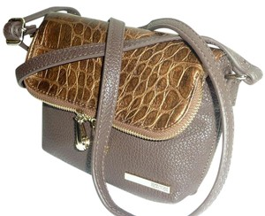 Kenneth Cole Reaction Foldover Faux Leather Croco Embossed Gold Tone Hardwarem Cross Body Bag