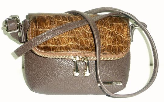 Kenneth Cole Reaction Foldover Faux Leather Croco Embossed Gold Tone Hardwarem Cross Body Bag Image 1