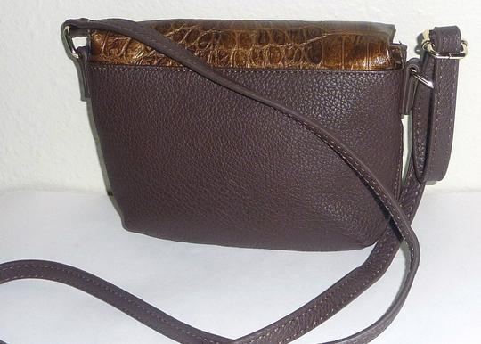 Kenneth Cole Reaction Foldover Faux Leather Croco Embossed Gold Tone Hardwarem Cross Body Bag Image 2