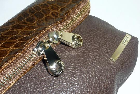 Kenneth Cole Reaction Foldover Faux Leather Croco Embossed Gold Tone Hardwarem Cross Body Bag Image 3