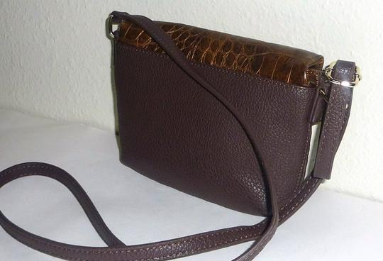 Kenneth Cole Reaction Foldover Faux Leather Croco Embossed Gold Tone Hardwarem Cross Body Bag Image 6
