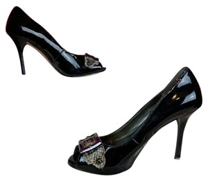Guess Patent Leather Open Toe Black, Grey Pumps