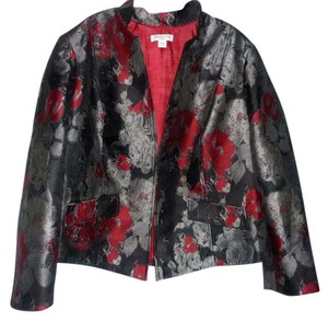 Coldwater Creek Floral Abstract Flap Pockets Multi Color Blazer
