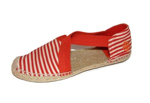 Tory Burch Catalina Striped Canvas Espadrilles Orange Flats