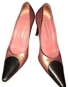 Sergio Rossi brown/bronze & black detail Pumps
