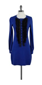 Nanette Lepore short dress Blue Black Ruffly Wool on Tradesy