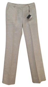 Brooks Brothers Linen Catherine Fit Spring Summer Resort Trouser Pants White / Tan