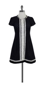Nanette Lepore short dress Navy White Circle Print Eyelet on Tradesy