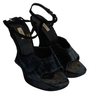 Prada Dark Navy, Almost Black Wedges