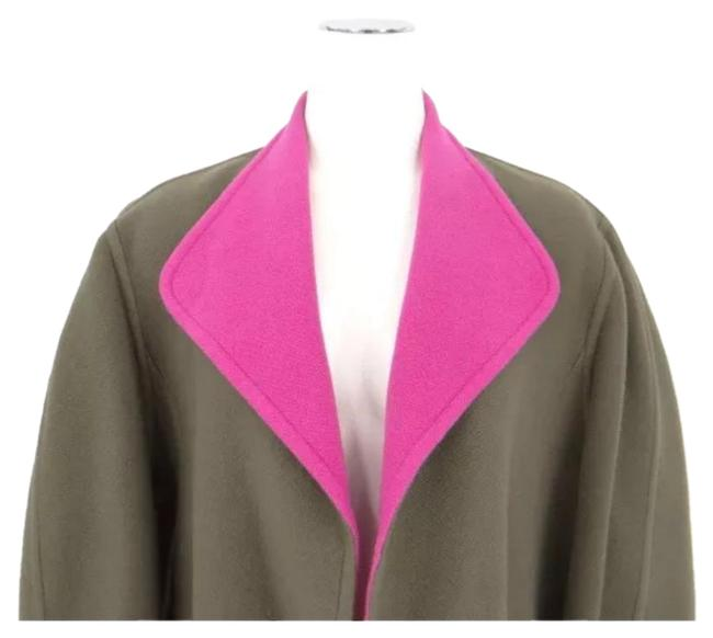 Item - Green Pink Long Wool Cashmere Loose Fit Oversized Open Cardigan Coat Size 8 (M)