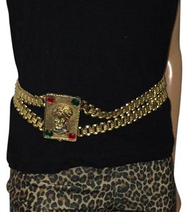 Dior Rare CHRISTIAN DIOR Gold Gilt Double Book Chain Jeweled Sultan King With Turban Hat Body Belt/Necklace