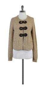 Tory Burch Oatmeal Knit Brown Buckle Cardigan