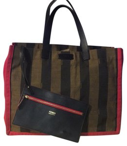 Fendi Tote in red and black and brown
