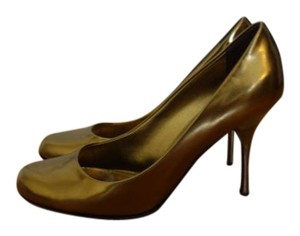 Giuseppe Zanotti Heel Made In Italy Leather Gold Pumps