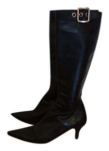 Prada Low Heel Knee High Hardware Buckle Black Boots