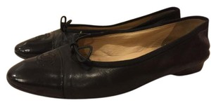 Chanel Ballerina Ballet Leather Black Flats
