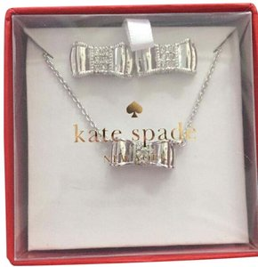 Kate Spade Moon River silver Bow Stud Earrings And Necklace Boxed set