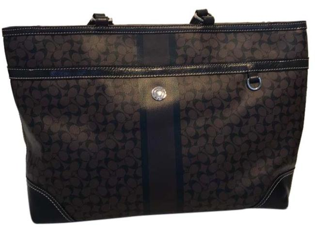 Item - Multifunction Black and Brown Leather Diaper Bag