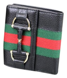 Gucci GUCCI French Leather Wallet w/Horsebit and GRG Web Black 245751
