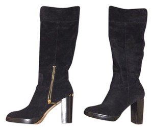 MICHAEL Michael Kors Suede Gold Hardware Black Suede Boots