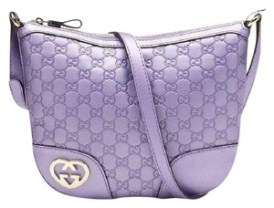 Gucci Lovely Lavender Leather Purple Guccissima Messenger Bag