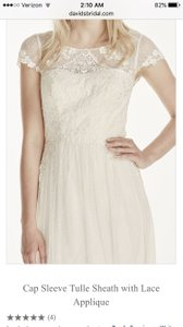 David's Bridal Never Worn! Cap Sleeve Long Jersey Dress With Lace Detail Wedding Dress