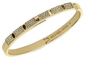 Michael Kors MKJ4013 Turnlock Bangle Women Bracelet Gold Tone Crystal Pave
