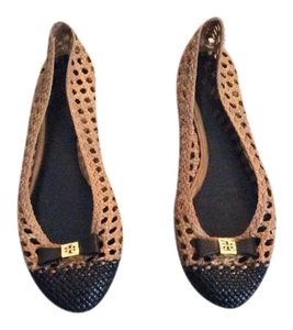 Tory Burch Black/\Camel leather Flats
