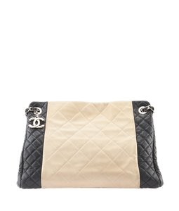 Chanel Black & Cream Leather Tote in Black,Beige