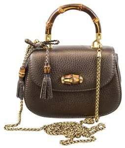 Gucci Metallic Leather Bamboo Shoulder Bag