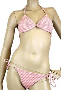 Gucci Authentic Gucci Stripe Swimsuit Swim Suit Bikini Red/White L 235560